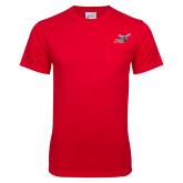 Red T Shirt w/Pocket-Delaware State Hornets w/Hornet