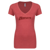 Next Level Ladies Vintage Red Tri Blend V-Neck Tee-Hornets
