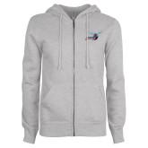 ENZA Ladies Grey Fleece Full Zip Hoodie-Delaware State Hornets w/Hornet