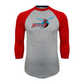 Grey/Red Raglan Baseball T Shirt-Delaware State Hornets w/Hornet