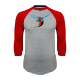 Grey/Red Raglan Baseball T Shirt-Hornet