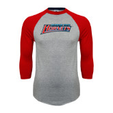 Grey/Red Raglan Baseball T Shirt-Delaware State Hornets