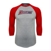 Grey/Red Raglan Baseball T Shirt-Hornets