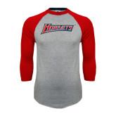 Grey/Red Raglan Baseball T Shirt-Hornets