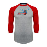 Grey/Red Raglan Baseball T Shirt-Delaware State Hornets w/Hornet Distressed