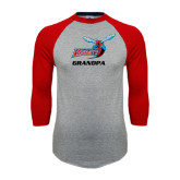Grey/Red Raglan Baseball T Shirt-Grandpa