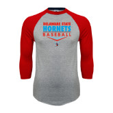 Grey/Red Raglan Baseball T Shirt-Abstract Baseball Design