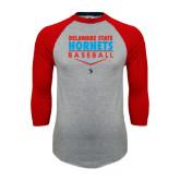 Grey/Red Raglan Baseball T Shirt-Abstract Baseball Design