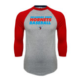 Grey/Red Raglan Baseball T Shirt-Baseball Text Design