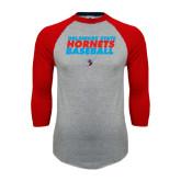 Grey/Red Raglan Baseball T-Shirt-Baseball Text Design