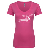 Next Level Ladies Junior Fit Ideal V Pink Tee-Delaware State Hornets w/Hornet