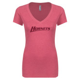 Next Level Ladies Vintage Pink Tri Blend V-Neck Tee-Hornets