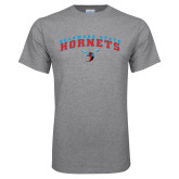 Grey T Shirt-Arched Delaware State Hornets w/Hornet