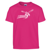 Youth Cyber Pink T Shirt-Delaware State Hornets w/Hornet