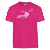 Youth Fuchsia T-Shirt-Delaware State Hornets w/Hornet
