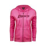 ENZA Ladies Fuchsia Fleece Full Zip Hoodie-Hornets