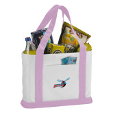 Contender White/Pink Canvas Tote-Delaware State Hornets w/Hornet