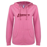 ENZA Ladies Hot Pink V-Notch Raw Edge Fleece Hoodie-Hornets