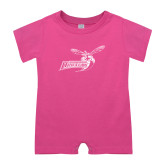 Bubble Gum Pink Infant Romper-Delaware State Hornets w/Hornet