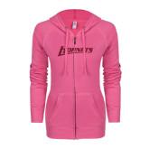 ENZA Ladies Hot Pink Light Weight Fleece Full Zip Hoodie-Hornets