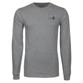 Grey Long Sleeve T Shirt-Delaware State Hornets w/Hornet