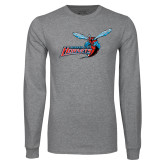 Grey Long Sleeve T Shirt-Delaware State Hornets w/Hornet Distressed