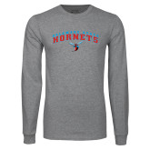 Grey Long Sleeve T Shirt-Arched Delaware State Hornets w/Hornet