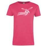 Ladies Fuchsia T Shirt-Delaware State Hornets w/Hornet