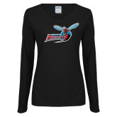 Ladies Black Long Sleeve V Neck Tee-Delaware State Hornets w/Hornet