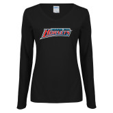 Ladies Black Long Sleeve V Neck T Shirt-Delaware State Hornets