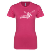 Ladies SoftStyle Junior Fitted Fuchsia Tee-Delaware State Hornets w/Hornet