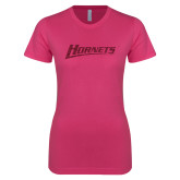 Ladies SoftStyle Junior Fitted Fuchsia Tee-Hornets