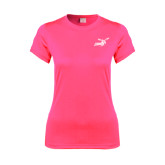 Ladies Performance Hot Pink Tee-Delaware State Hornets w/Hornet