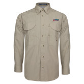 Khaki Long Sleeve Performance Fishing Shirt-Delaware State Hornets