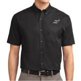 Black Twill Button Down Short Sleeve-Delaware State Hornets w/Hornet