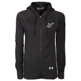 Ladies Under Armour Black Varsity Full Zip Hoodie-Delaware State Hornets w/Hornet
