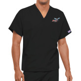 Unisex Black V Neck Tunic Scrub with Chest Pocket-Delaware State Hornets w/Hornet