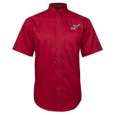 Red Twill Button Down Short Sleeve-Delaware State Hornets w/Hornet