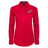 Ladies Red Twill Button Down Long Sleeve-Delaware State Hornets w/Hornet