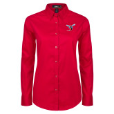 Ladies Red Twill Button Down Long Sleeve-Hornet