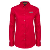 Ladies Red Twill Button Down Long Sleeve-Delaware State Hornets