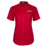 Ladies Red Twill Button Up Short Sleeve-Delaware State Hornets