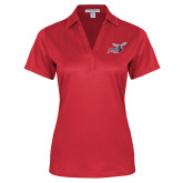 Ladies Red Performance Fine Jacquard Polo-Delaware State Hornets w/Hornet