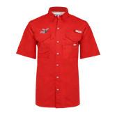 Columbia Bonehead Red Short Sleeve Shirt-Delaware State Hornets w/Hornet