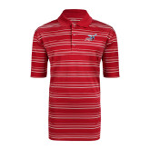 Adidas Climalite Red Textured Stripe Polo-Delaware State Hornets w/Hornet