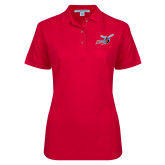 Ladies Easycare Red Pique Polo-Delaware State Hornets w/Hornet