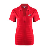 Ladies Red Horizontal Textured Polo-Delaware State Hornets w/Hornet