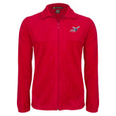 Fleece Full Zip Red Jacket-Delaware State Hornets w/Hornet