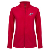 Ladies Fleece Full Zip Red Jacket-Delaware State Hornets w/Hornet