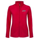 Ladies Fleece Full Zip Red Jacket-Delaware State Hornets